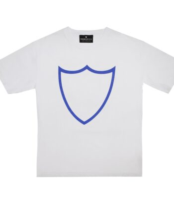 T-SHIRT BASIC SHIELD M WHITE BLUE htc maglia scudo blue express logo