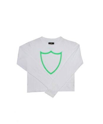 T-SHIRT CROPPED LS WHITE htc log scudo maglia scudo blue express family