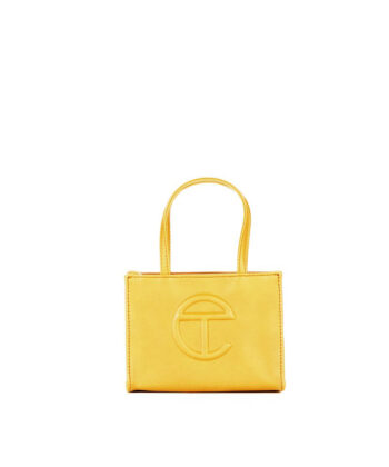 SMALL SHOPPING BAG TELFAR YELLOW blue express family Oprah Winfrey bag