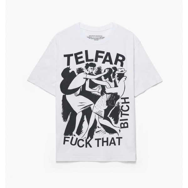 oprah winfrey telfar T-SHIRT FUCK THAT BITCH TELFAR BIANCA blue express family
