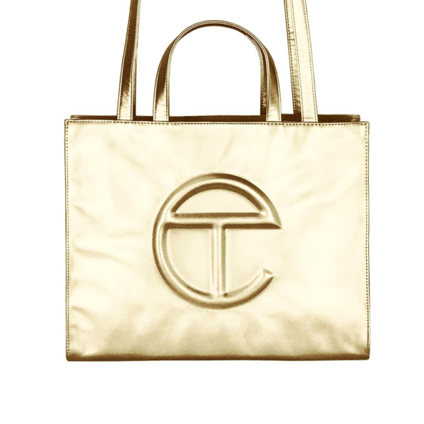 oprah winfrey telfar MEDIUM SHOPPING BAG TELFAR ORO blue express family