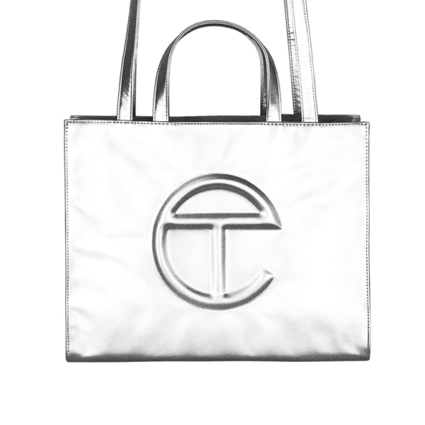 oprah winfrey telfar MEDIUM SHOPPING BAG TELFAR ARGENTO blue express family