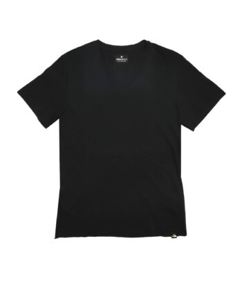 T-SHIRT V NECK MID BLACK maglia scudo logo blue express family